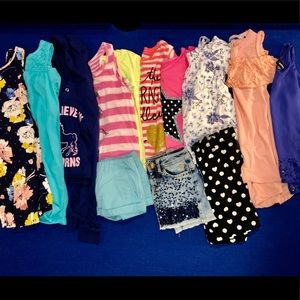 Girls Size 7-8 Bundle Shirts Shorts and Dresses
